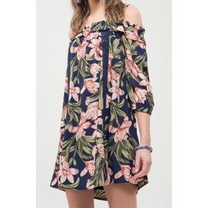 Blu Pepper Cold Shoulder Floral Shift Dress